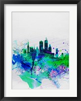 Framed Boston Watercolor Skyline
