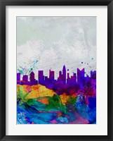 Framed Columbus Watercolor Skyline