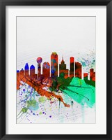 Framed Dallas Watercolor Skyline