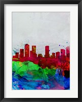 Framed Denver Watercolor Skyline