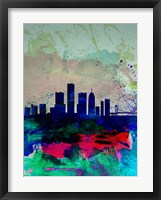 Framed Detroit Watercolor Skyline