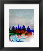 Framed Los Angeles  Watercolor Skyline 1