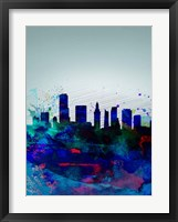 Framed Miami Watercolor Skyline