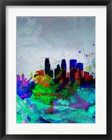 Framed Minneapolis Watercolor Skyline