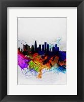 Framed Los Angeles  Watercolor Skyline 2