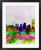 Framed Buffalo Watercolor Skyline