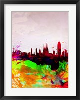 Framed Barcelona Watercolor Skyline