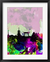 Framed Kyoto Watercolor Skyline