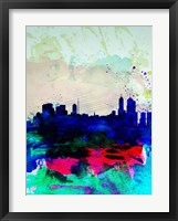Framed Melbourne Watercolor Skyline 2
