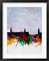 Framed Stockholm Watercolor Skyline