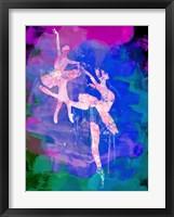 Framed Two white Ballerinas Watercolor