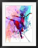 Framed Ballerina's Dance Watercolor 1