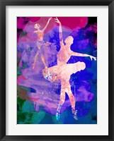 Framed Two Dancing Ballerinas Watercolor 1