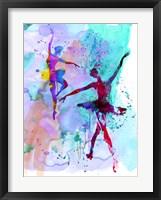Framed Two Dancing Ballerinas Watercolor 2