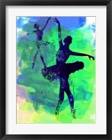 Framed Two Dancing Ballerinas Watercolor 3