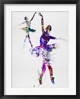 Framed Two Dancing Ballerinas Watercolor 4