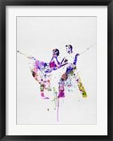 Framed Romantic Ballet Watercolor 2
