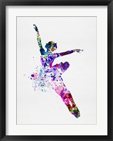 Framed Flying Ballerina Watercolor 1