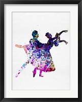 Framed Ballet Dancers Watercolor 1
