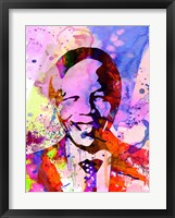 Framed Nelson Mandela Watercolor