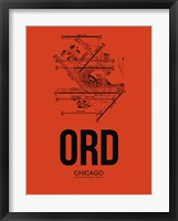 Framed ORD Chicago Airport Orange
