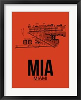 Framed MIA Miami Airport Orange