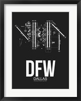 Framed DFW Dallas Airport Black