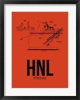 Framed HNL Honolulu Airport Orange