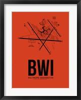 Framed BWI Baltimore Airport Orange