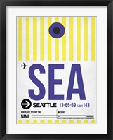 Framed SEA Seattle Luggage Tag 1