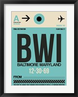 Framed BWI Baltimore Luggage Tag 1