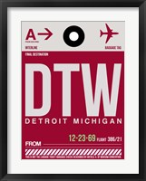 Framed DTW Detroit  Luggage Tag 1