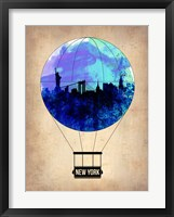 Framed New York Blue Air Balloon