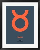 Framed Taurus Zodiac Sign Orange