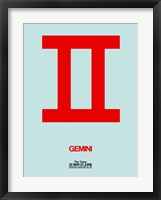 Framed Gemini Zodiac Sign Red