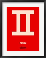Framed Gemini Zodiac Sign White on Red