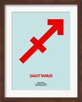 Framed Sagittarius Zodiac Sign Red