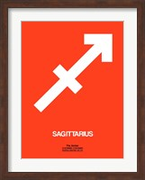 Framed Sagittarius Zodiac Sign White on Orange