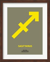 Framed Sagittarius Zodiac Sign Yellow