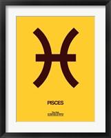 Framed Pisces Zodiac Sign Brown