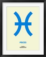 Framed Pisces Zodiac Sign Blue