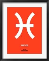 Framed Pisces Zodiac Sign White on Orange