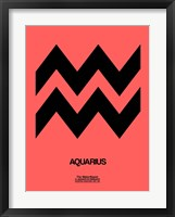 Framed Aquarius Zodiac Sign Black