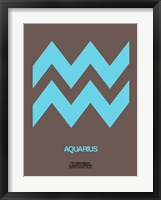 Framed Aquarius Zodiac Sign Blue