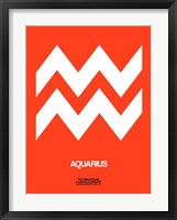 Framed Aquarius Zodiac Sign White on Orange