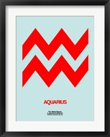 Framed Aquarius Zodiac Sign Red