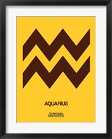Framed Aquarius Zodiac Sign Brown