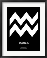 Framed Aquarius Zodiac Sign White