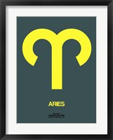 Framed Aries Zodiac Sign Yellow