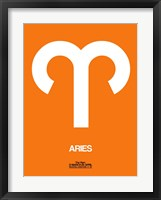 Framed Aries Zodiac Sign White on Orange